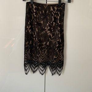 Black lace pencil skirt